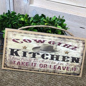 3/$12!! NWT Cowgirl Kitchen Sign